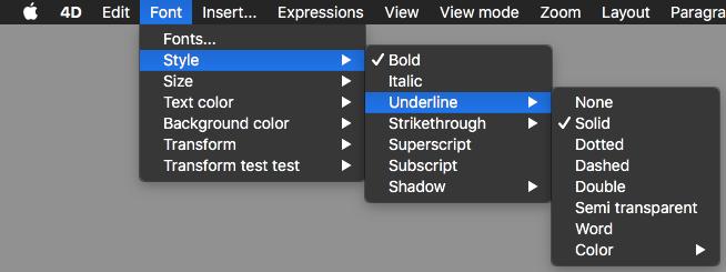 4D Write Pro menu