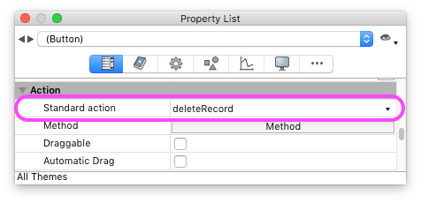 Delete Record action in Property List