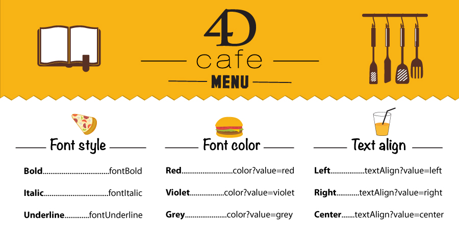 Design your menu in 4D Write Pro