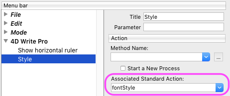 Create a font style menu with standard automatic action
