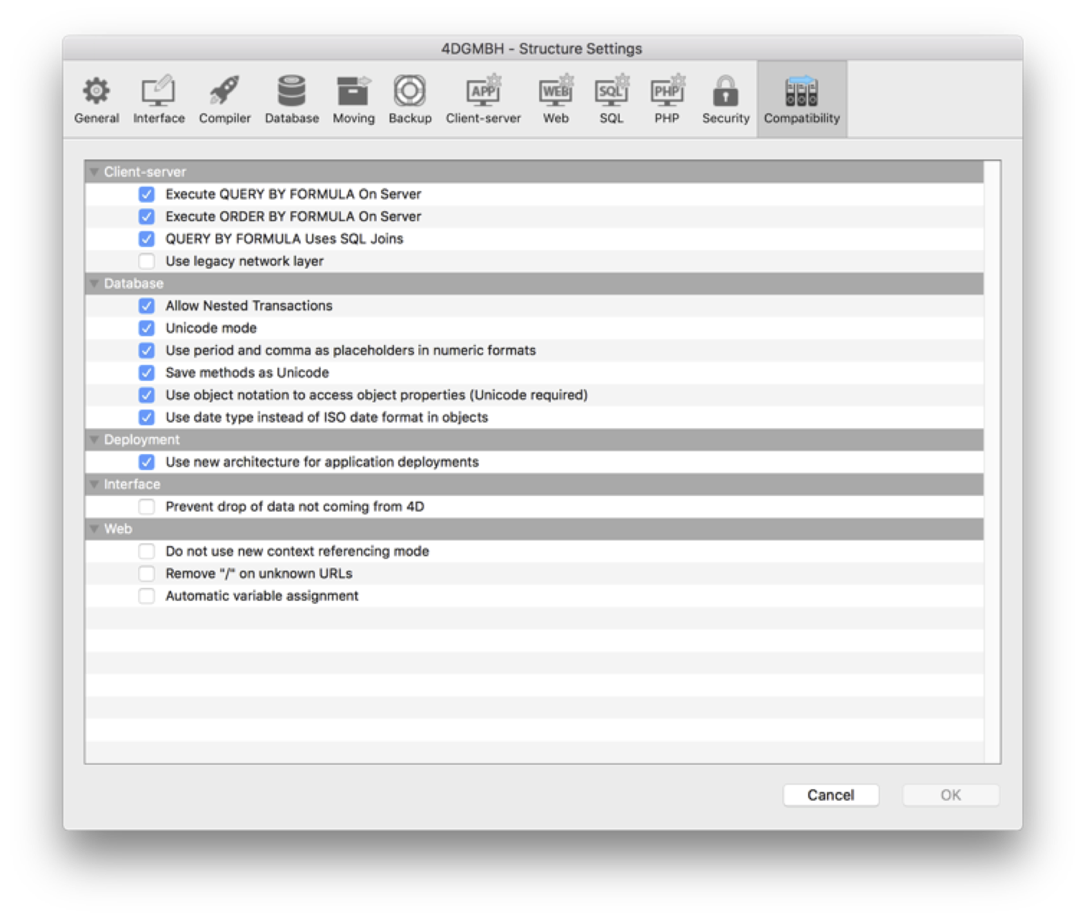 Compatibility settings – all the rest (Part 4) – 4D Blog